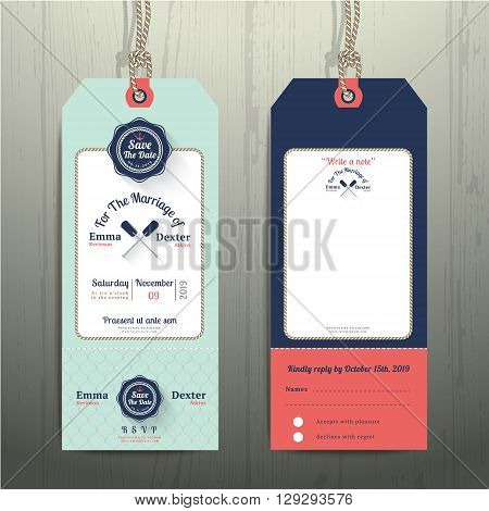 Nautical hanging tag wedding invitation and RSVP card with fishnet rope design on wood background