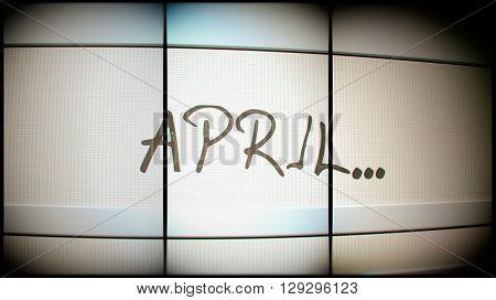 3d rednering of April month on digital monitor