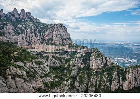 Aerial view on Santa Maria de Montserrat Abbey in Montserrat mountains Spain
