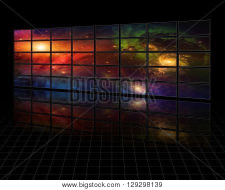 Galaxies and stars on screens in dark space 3D Render