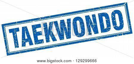 taekwondo blue grunge square stamp on white