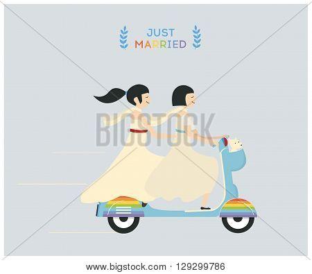 Just married lesbian wedding couple riding motobike