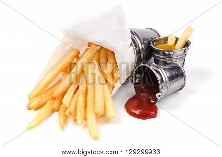 French fries with catchup and mustard isolated