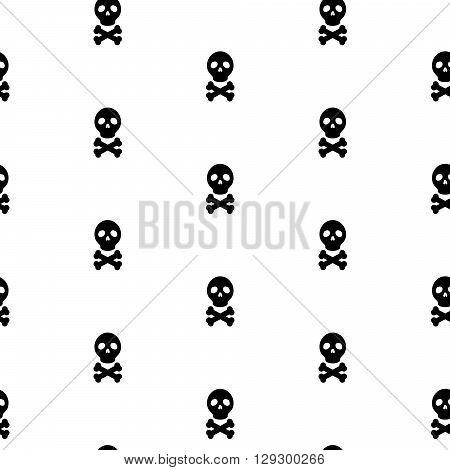 Skull black and white continuous vector pattern. Skull head and bones simple seamless textile pattern.