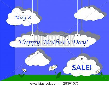 Mother's Day sale vector illustration for advertisement fluffy clouds discount flyer for Mothers day