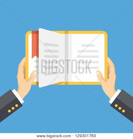 Hands with book. Knowledge, education flat concept. Vector illustration