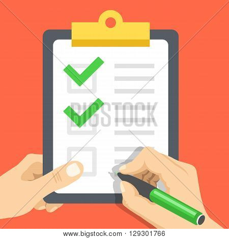 Hand holds document with checkmarks and hand with pen about to write one more tick. Clipboard with green check marks. Survey, quiz, to-do list, agreement flat design concept. Vector illustration