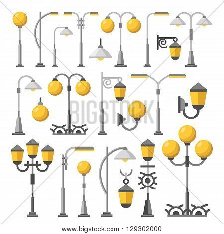 Street light set. Outdoor post lights, lamps, street lanterns, city elements collection. Flat design concept vector illustration isolated on white background