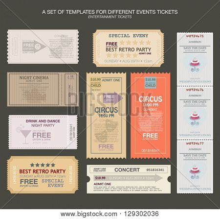 tickets in different styles. Vector illustration. Collection vintage tickets and Coupons.