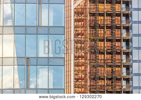 Background with windows of modern business building