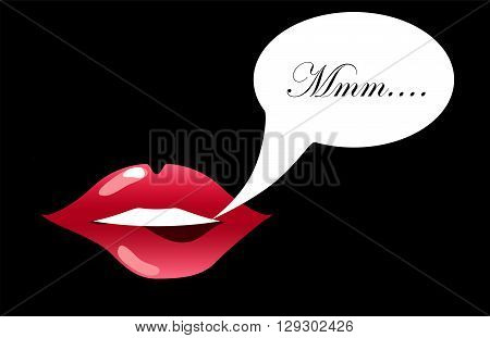 Lips biting with text bubble vector illustration for background sensual lips of a woman smiling