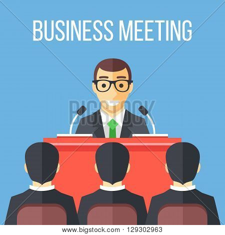 Business meeting, speech, business conference. Flat illustration. Modern flat design meeting concept for web sites, infographics, web banners, printed materials. Vector illustration