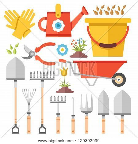 Gardening work tools flat icons set. Nice equipment for working in garden, gardening cart, gloves, secateurs, seeds, tulip flower, shovel, watering can, etc. Flat vector illustration set
