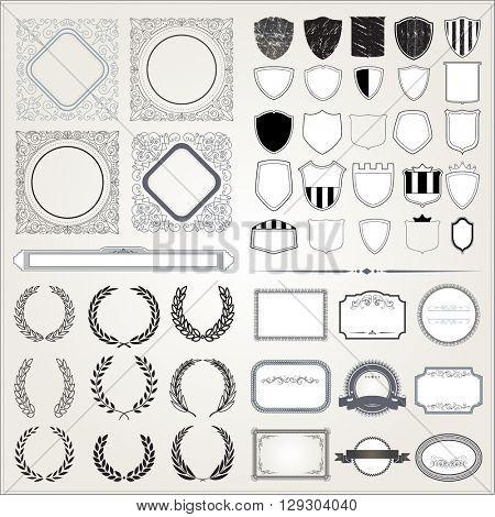 Set of empty retro vintage frames, laurels, certificate, badges and stamps