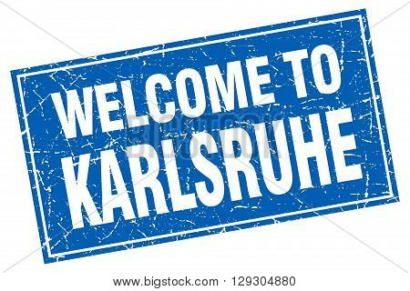 Karlsruhe blue square grunge welcome to stamp