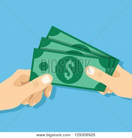 Hand giving cash to another hand flat illustration. Modern flat design concepts vector illustration