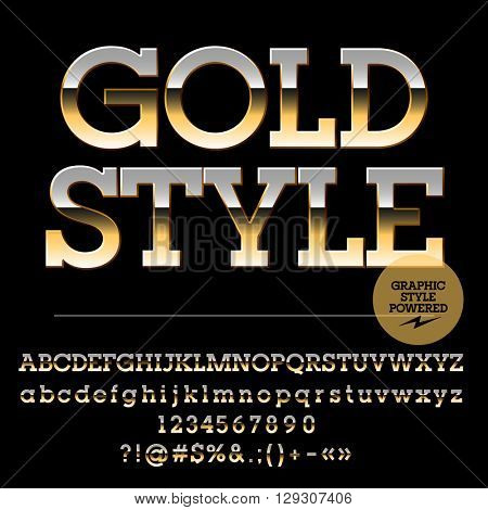 Vector set of luxury golden alphabet letters, numbers and punctuation symbols. Slab style