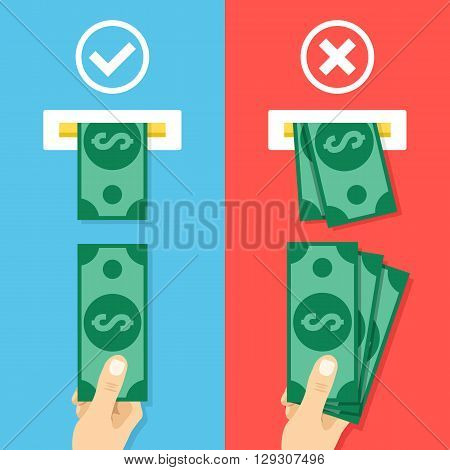 How to insert cash in atm machine. Right and wrong ways to insert cash. Hand with cash and atm machine slot. Creative flat design vector illustration