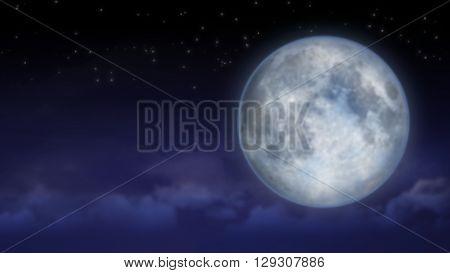 Tragic night sky with a full moon and shining far stars