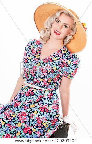 Portrait Of Cute Retro Blond Wearing Sun Hat, Seated, Isolated On White