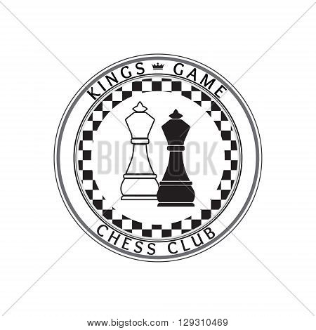 Chess pieces business sign & corporate identity template for Chess club or Chess school. King chess piece vector icon set. Colorful chess vector illustration. Sample text. Editable.