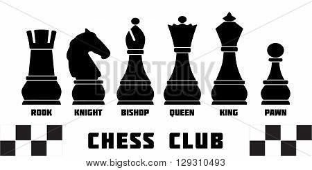 Chess pieces with names vector illustration for Chess club or Chess school. Standard chess pieces vector icon set. Colorful chess vector illustration. Sample text. Editable.