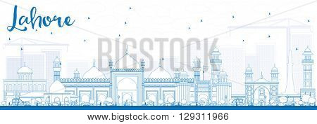 Outline Lahore Skyline with Blue Landmarks. Business Travel and Tourism Concept with Historic Buildings. Image for Presentation Banner Placard and Web.