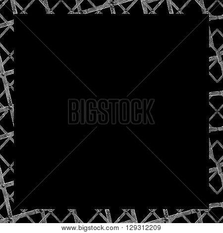 Black Frame With Geometric Grunge Texture Borders
