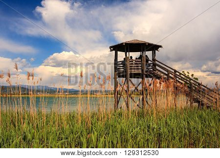 GRADO ITALY - APRIL 25: Birdwatching tower in the Nature reserve of the Isonzo river mouth on April 25 2016