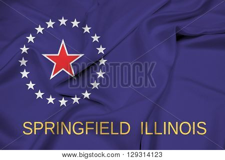 Waving Flag of Springfield Illinois, with beautiful satin background