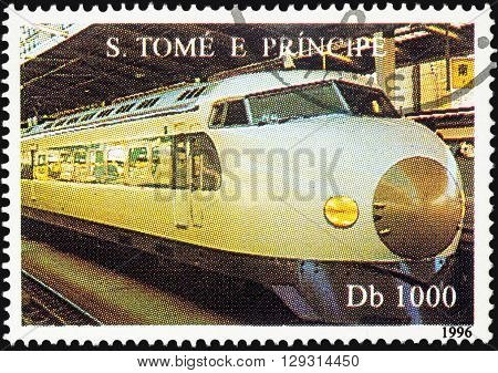MOSCOW RUSSIA - MAY 09 2016: A stamp printed in Sao Tome and Principi shows high-speed train series