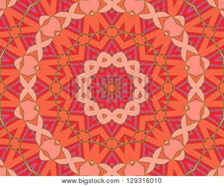 Abstract geometric seamless background, drawing. Concentric circle ornament in star shape with pink, violet, orange and red elements and green outlines, ornate and conspicuous.