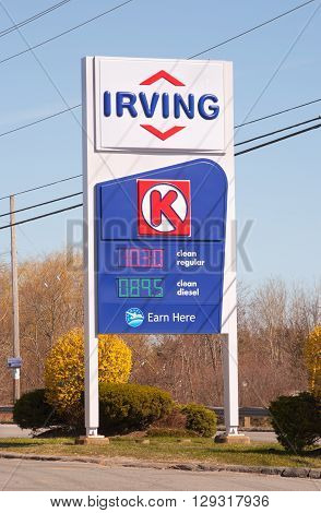 WINDSOR CANADA - MAY 01 2016: Irving sign. Irving Oil Ltd. is an energy producing and exporting company including gasoline oil and natural gas.
