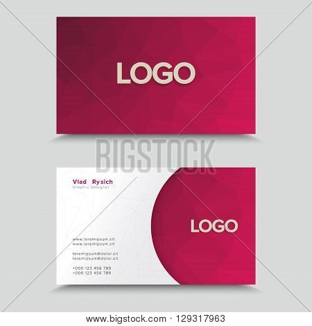Vector Visit Card. Business Card Template With Polygonal Mosaic Design.