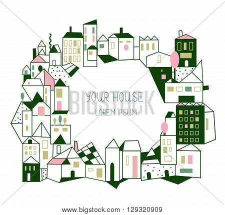 Real estate background with houses - graphic illustration hand drawn design vector