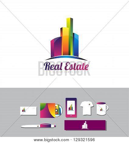Corporate identity vector company logo icon element template building skyscraper city real estate 3d