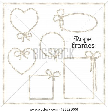 Vector set of isolated frames with bow from rope. Heart frame, round frame, square frame, rectangular frame.