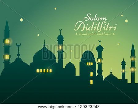 Ramadan background with silhouette mosque. Salam Aidilfitri means celebration day. Maaf zahir dan batin means please forgive (me) outwardly and internally.