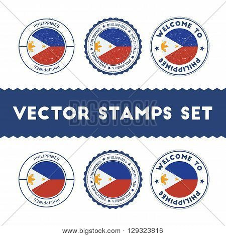 Filipino Flag Rubber Stamps Set. National Flags Grunge Stamps. Country Round Badges Collection.