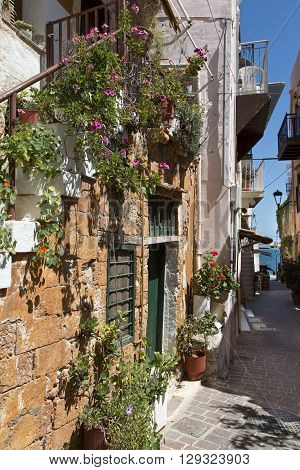 Alleyway in the old town in Chania on Crete Greece