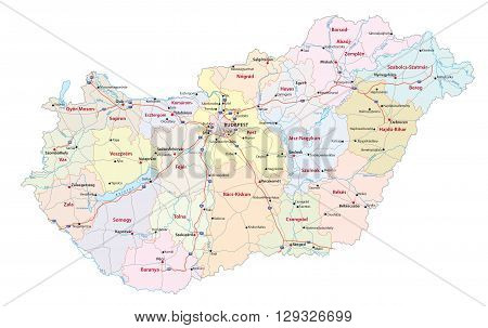 detailed vector roads and administrative map of Hungary with the main cities and rivers poster