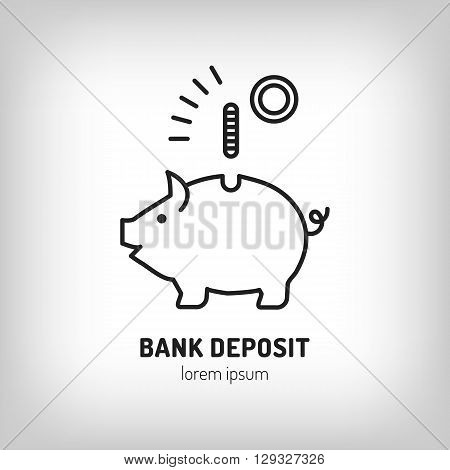 Piggy bank vector icon. Bank, business, savings deposit, finance, savings, investment of money. Vector illustration logo made in trendy line stile. For the design of brochures posters flyers web