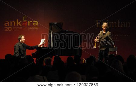 ANKARA/TURKEY-MAY 6, 2016: Markus Stockhausen & Florian Weber at the stage of Erimtan Archeology and Art Museum during the 20. International Ankara Jazz Festival. May 6, 2016-Ankara/Turkey