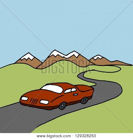An image of a car driving on a winding road.