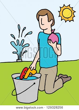 An image of a man reloading water gun and water balloon.