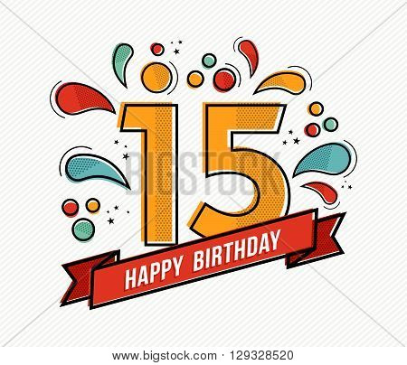 Colorful Happy Birthday Number 15 Flat Line Design