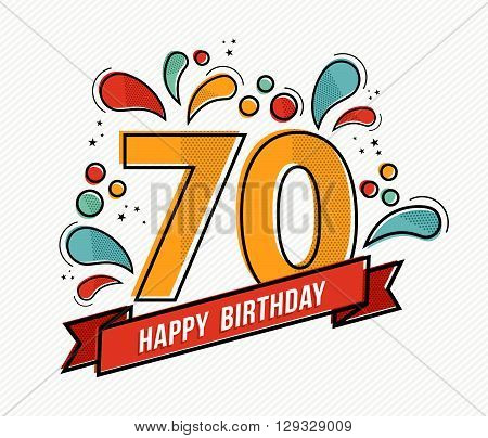 Colorful Happy Birthday Number 70 Flat Line Design