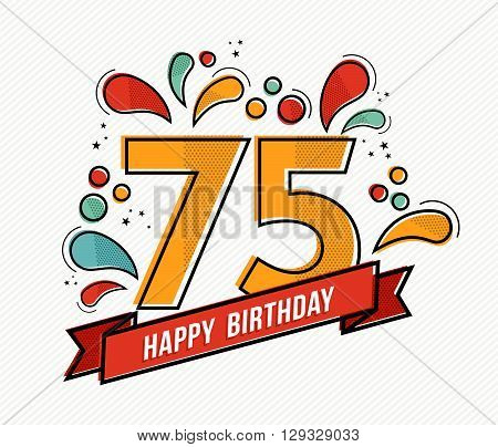 Colorful Happy Birthday Number 75 Flat Line Design