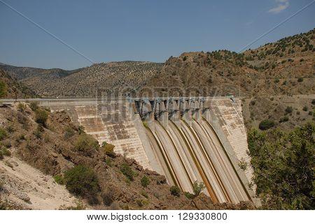 ANKARA/TURKEY-JULY 17, 2014: Hasan Polatkan Dam's sluice gate at the Nallihan. July 17, 2014-Ankara/Turkey