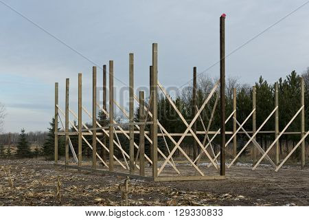 A Pole Barn under construction in Minnesota